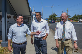 NSW Deputy Premier John Barilaro (left) with Coffs Harbour Nationals MP Gurmesh Singh (centre) and Nationals chairman and former Coffs Harbour MP Andrew Fraser during last year's election campaign.