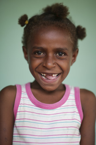 Linda, 7, during her visit to Port Moresby's Six Mile Clinic to receive her tuberculosis treatment.