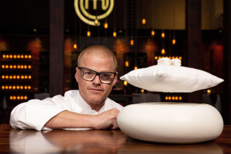 Blumenthal and his Counting Sheep dessert, which was chosen as the pressure test dish for MasterChef Australia's 2018 grand final.