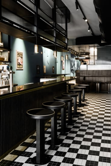 Techne Architecture + Interior Design's fitout of the Biggie Smalls restaurant in Windsor.