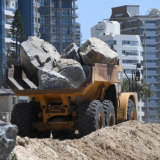 Seawall construction on the Gold Coast, as Cyclone Oma tracks towards the Queensland coast.