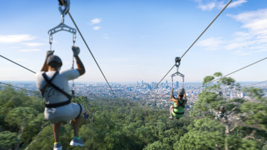 An artists' impression of the proposed Mt Coot-tha zipline.