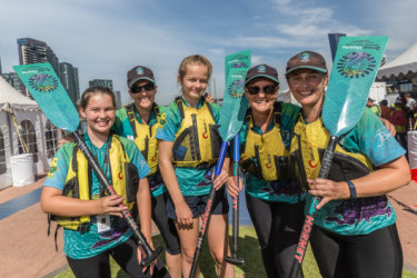 Diane Edmondson (second from right) with her two daughters and two granddaughters competing at Docklands.