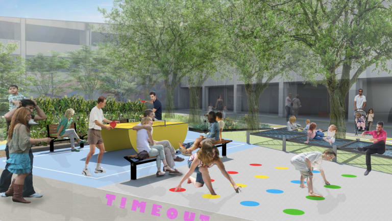"""Woden Town Square is set to be """"activated"""" with outdoor offices, turf and sun lounges, table tennis facilities and pop-up food and drink vendors. The six-month project is called the #WodenExperiment"""