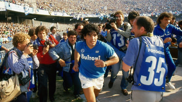 Diego Maradona entering the San Paolo stadium. Director Asif Kapadia's film about Maradona is now in cinemas.