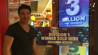 Sam Misiano, owner of Scole Lotto and News in Brunswick, where the winning $55 million lotto ticket was sold.