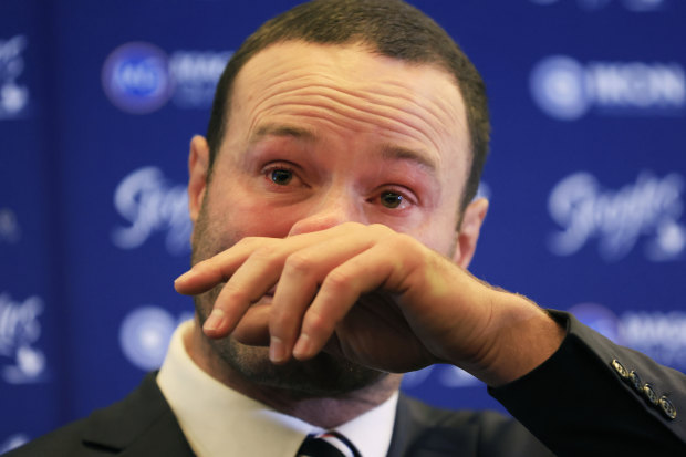 Boyd Cordner at his retirement media conference on Monday.