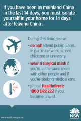 A NSW Health Department poster providing advice for travellers on self-isolating to mitigate the risk of spreading the coronavirus.