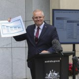 Scott Morrison  shows off the COVID-19 vaccine road map in January.