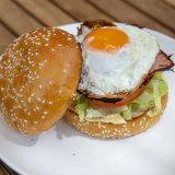 Min Lokal's breakfast burger.