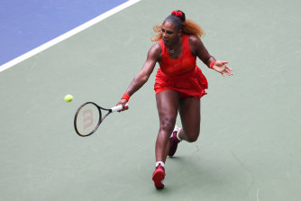 Serena Williams hits a return in her quarter-final against  Tsvetana Pironkova.