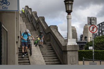 The lack of ramp access to the north of Sydney's Harbour Bridge has long frustrated cyclists.