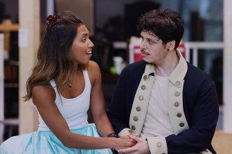 Chloe Zuel and Jason Arrow during rehearsals for Hamilton.