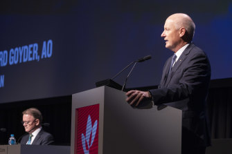 Woodside CEO Peter Coleman and chairman Richard Goyder were grilled on the company's carbon commitments at the AGM.