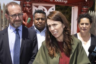 Prime Minister Jacinda Ardern talks to media after meeting with the families of victims of the Christchurch shooting.