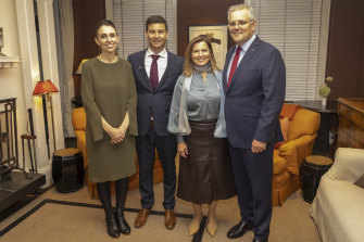 New Zealand Prime Minister Jacinda Ardern with partner Clarke Gayford, and Australian Prime Minister Scott Morrison with wife Jenny during a dinner at Eichardts Private Hotel on the Queenstown waterfront.