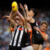 Lachie Keeffe (far right) and the Giants hung on in the frantic final minutes.