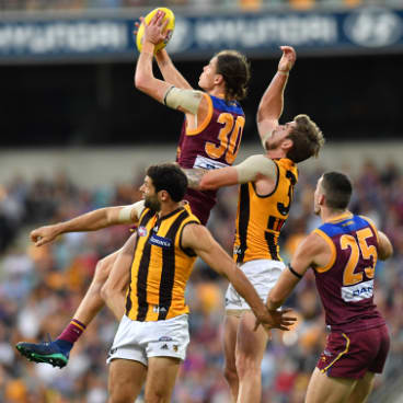 Got it: Brisbane's young gun Eric Hipwood takes a strong mark during the Lions upset win over Hawthorn at the Gabba.
