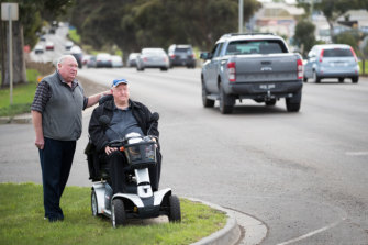 Dave Richardson and Garry Clancy (right) are among dozens of residents calling for pedestrian crossings on busy Ballarat Road.