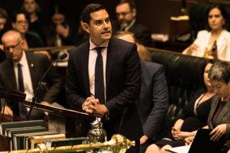 Sydney MP Alex Greenwich speaks during debate to decriminalise abortion in NSW.