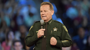 Broward County Sheriff Scott Israel speaks before a CNN town hall broadcast.