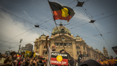 The Invasion Day rally reached a crescendo outside Flinders Street Station.