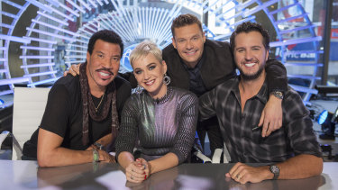 Lionel Richie, Katy Perry, Ryan Seacrest and Luke Bryan on the set of American Idol in New York. viewers.
