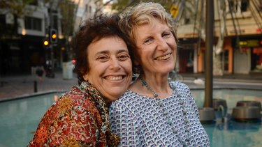Robyn Grace and Dawn Cohen in Kings Cross where Robyn was arrested in 1978 during the first Mardi Gras protests.