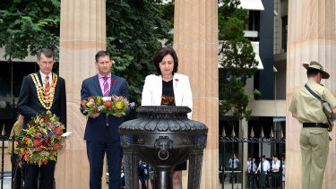 Premier Annastacia Palaszczuk with Brisbane lord mayor Graham Quirk and then-opposition leader Lawrence Springborg at the 2015 Remembrance Day commemoration at Brisbane's Shrine of Remembrance.
