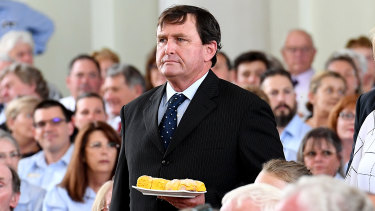 John Bjelke-Petersen brought a plate of his mother's famous scones to her funeral.
