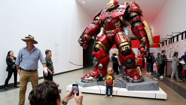 Visitors marvel at the Marvel exhibition, which arrived at the Gallery of Modern Art in South Bank last year.