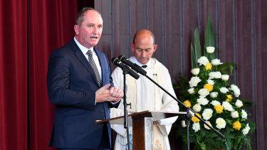 Barnaby Joyce speaks at Lady Flo's funeral at Kingaroy.