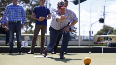 Opposition Leader Tim Nicholls plays bowls during a visit to Musgrave Hill Bowls Club at the Gold Coast on Sunday.