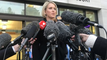 Julian Assange's lawyer Jennifer Robinson speaks outside court in London in early February.