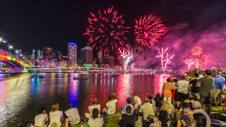 Crowd numbers at South Bank's New Year's Eve fireworks were down as storms hit the south-east.