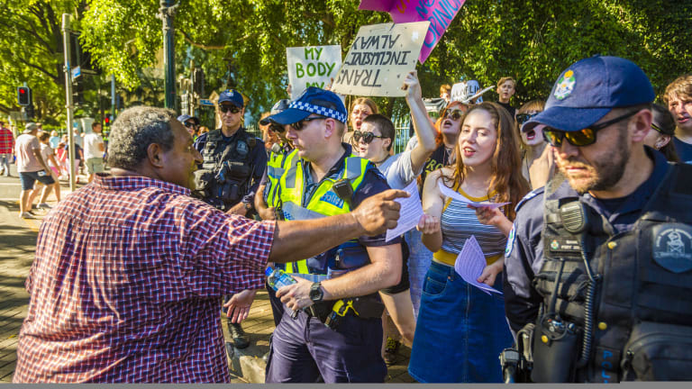 Pro-life and pro-choice protesters clashed at a Brisbane rally earlier this year.