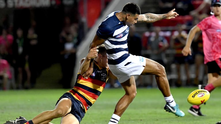 Tim Kelly in action against Adelaide during February's AFLX tournament.