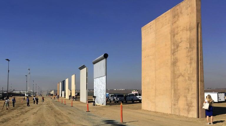 Border wall prototypes displayed in San Diego.