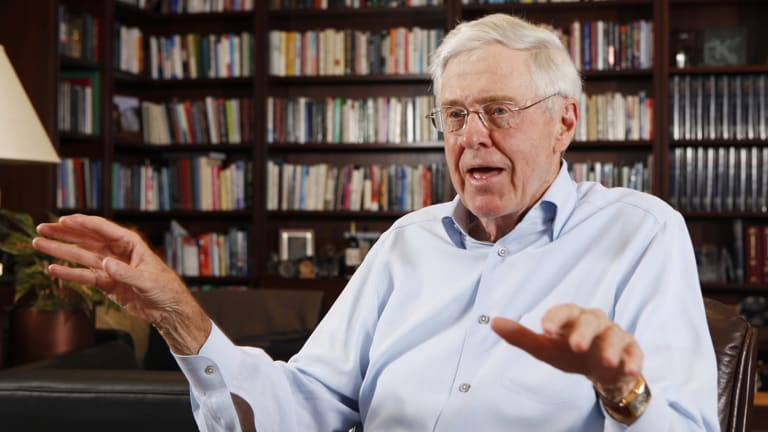 Charles Koch pictured  in his office at Koch Industries in Wichita, Kansas.