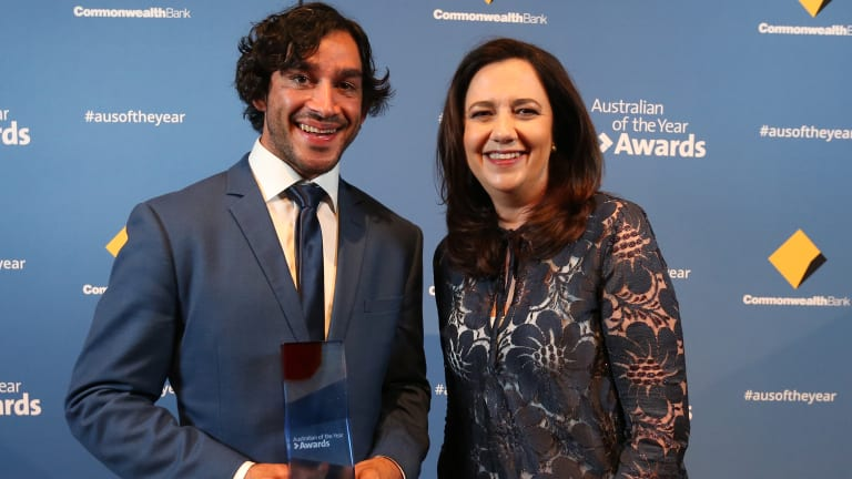 Queensland Australian of the Year winner Johnathan Thurston with Queensland Premier Annastacia Palaszczuk at the awards night at The Old Museum in Brisbane on Wednesday.
