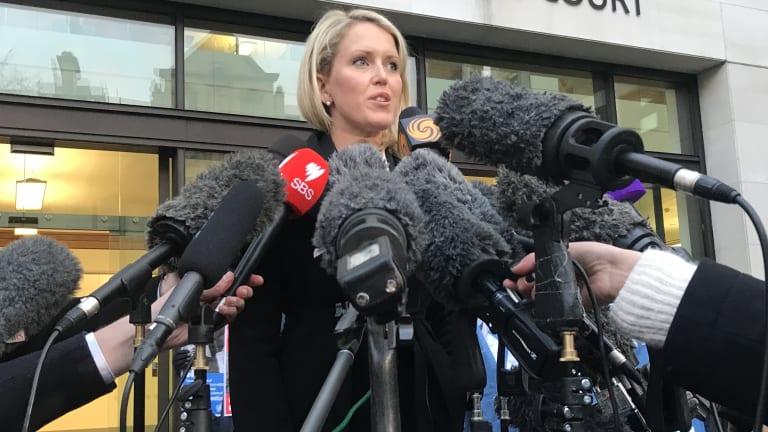 Julian Assange's lawyer Jennifer Robinson speaks outside court in London in early February.