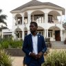 Bobi Wine stands outside his home as security forces surround his property on January 15, 2021 in Kampala, Uganda.