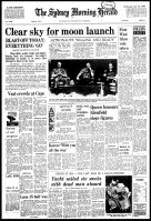Front page of the Sydney Morning Herald, July 16, 1969.