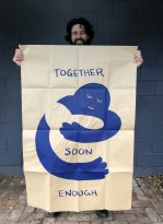 Artist Peter Drew and his Hugs poster.