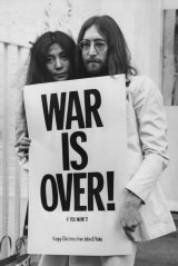 John Lennon and Yoko Ono combine Christmas wishes with a Vietnam war protest in 1969.