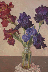 Bearded Iris by Lucy Culliton (2018): The artist enjoys the challenges of painting flowers in a vase.