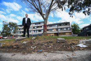 Mayor of Hume Joseph Haweil at the Banksia Gardens estate, which he says urgently needs renewal funding.