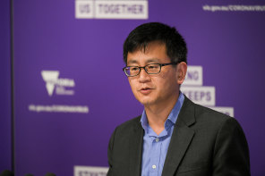 Professor Allen Cheng addresses the daily COVID-19 media conference in September.