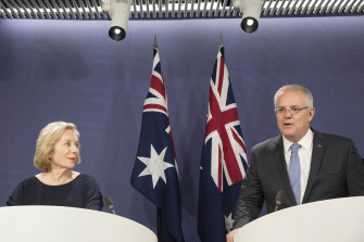 ABC chairwoman Ita Buttrose and Scott Morrison. She claims the government misrepresented the ABC's efforts to work closer with SBS.