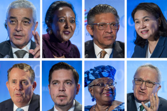 The candidates for the WTO's top job. Top from left, Abdel Hamid Mamdouh (Egypt), Amina Mohamed (Kenya), Mohammad Maziad Al-Tuwaijri (Saudi Arabia) and Yoo Myung-hee (Korea). Bottom: Liam Fox (UK), Tudor Ulianovschi (Moldova), Ngozi Okonjo-Iweala (Nigeria) and Jesus Seade Kuri (Mexico).